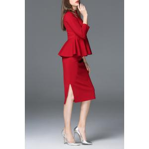 Stand Collar Wine Red Blouse and Skirt Twinset -