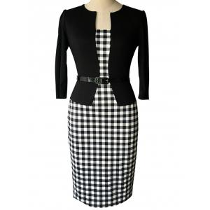 Plaid Belted Sheath Work Dress - White And Black - 3xl