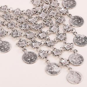 Silver Flower Hollow Out Coin Necklace -
