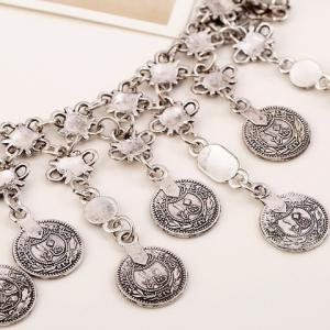 Vintage Silver Flower Carving Coin Fringed Necklace -