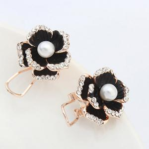 Pair of Graceful Faux Pearl Rhinestone Blossom Earrings For Women -