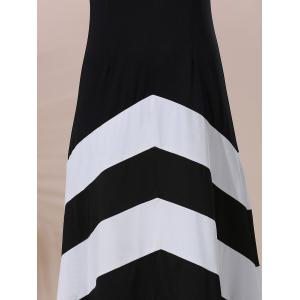 Halter Sleeveless Color Block Maxi Prom Evening Dress - WHITE AND BLACK L