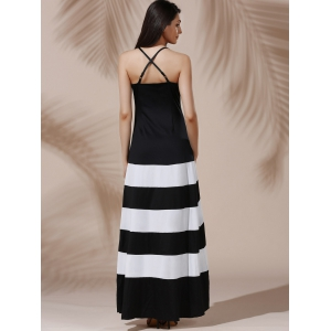 Halter Sleeveless Color Block Maxi Prom Evening Dress - WHITE/BLACK S