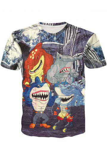 Fashion Funny  Round Neck 3D Cartoon Shark Man Short Sleeve Men's T-Shirt