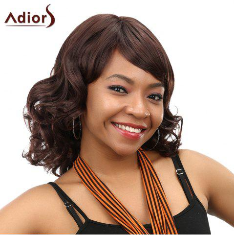 Buy Stunning Full Bang Medium Capless Fluffy Curly Dark Brown Synthetic Wig For Women DEEP BROWN