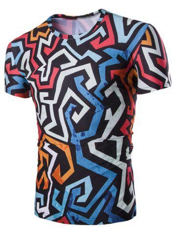 Trendy 3D Irregularity Geometric Print Round Neck Short Sleeves T-Shirt For Men
