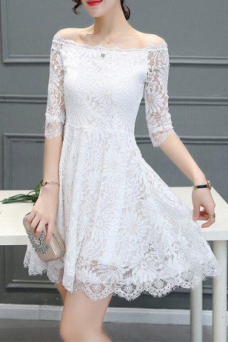 Outfit Simple Style Women's 3/4 Sleeve Pleated Dress