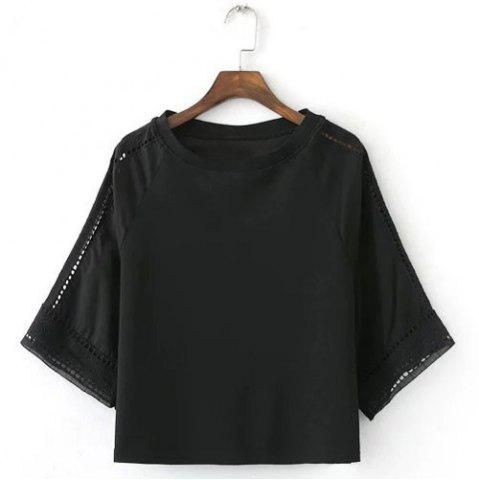 Cheap Fashionable Short Sleeve Black Hollow Out Women's Blouse