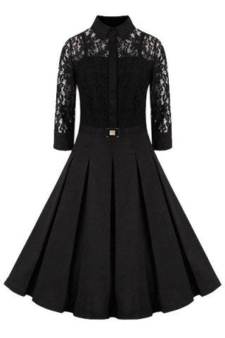 Unique Elegant Shirt Collar 3/4 Sleeves Solid Color Lace Dress For Women
