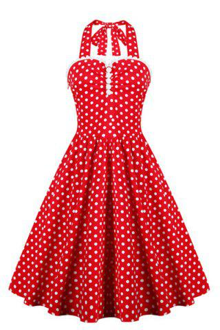 Trendy Halter Polka Dot 50s Swing Vintage Dress RED 2XL
