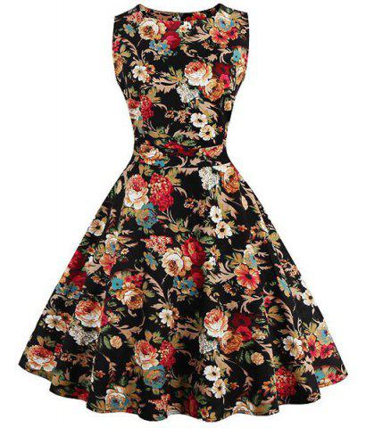 Outfits Floral Print Fit and Flare Homecoming Dress COLORMIX S