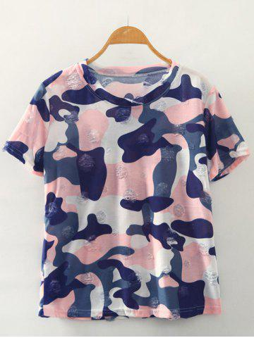 Discount Simple Style Women's Camouflage Print Ripped Short Sleeve T-Shirt