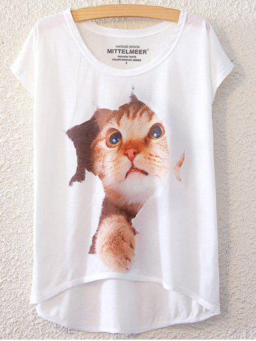 Outfits Simple Style Women's Cat Pattern Short Sleeve T-Shirt