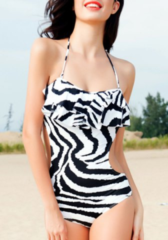 Outfit Charming Halter Striped Flounce Open Back Swimwear For Women