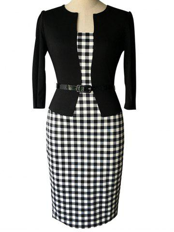 Chic Plaid Belted Sheath Work Dress WHITE AND BLACK 3XL