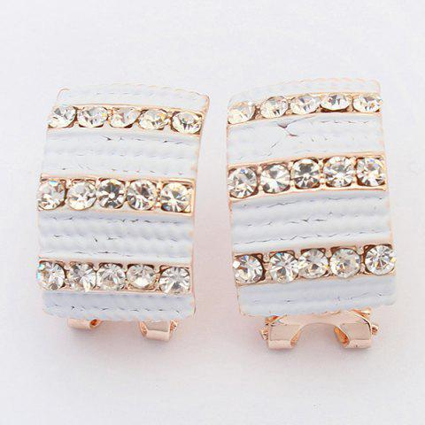 Buy Pair of Alloy Rhinestone Geometric Earrings