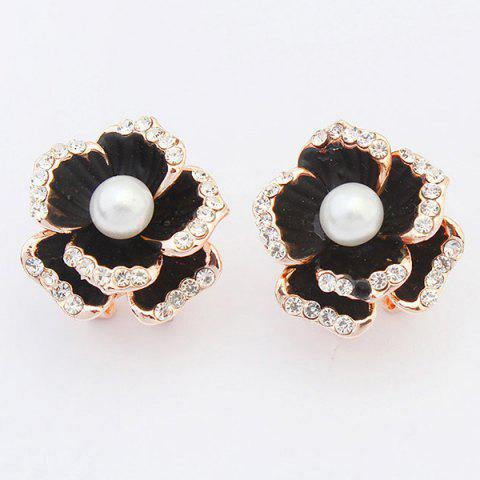 Best Pair of Graceful Faux Pearl Rhinestone Blossom Earrings For Women