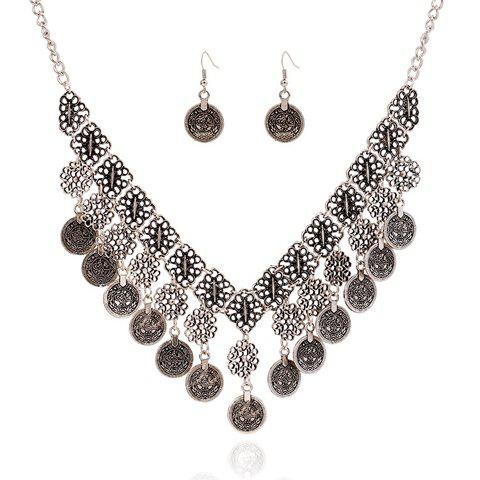 Best A Suit of Chic Flower Carving Coin Tassel Necklace and Earrings For Women