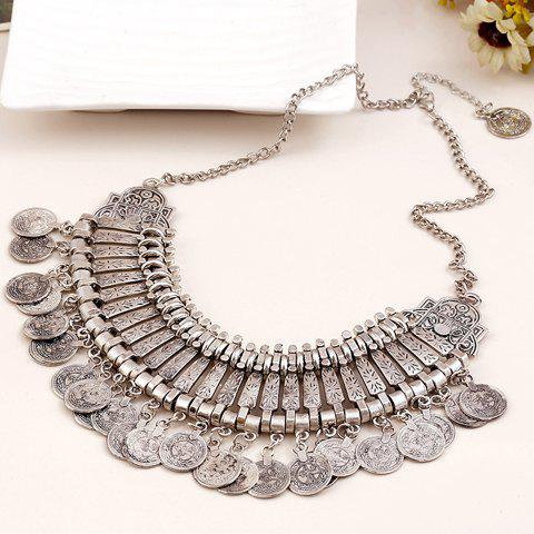 Chic Vintage Carving Coin Fringed Necklace SILVER
