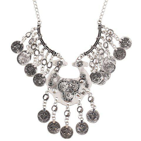 Cheap Carving Coin Tassel Necklace SILVER