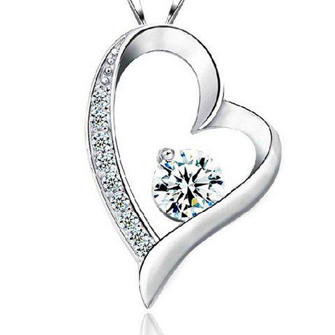 Sale Hollow Out Rhinestone Heart Shape Necklace