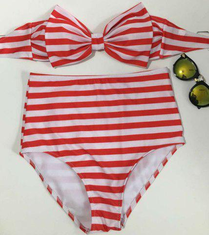 Latest Vintage Striped Bowknot High Waisted Bikini Set For Women