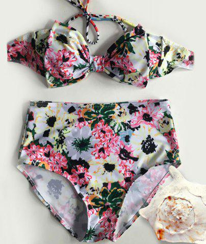 Stylish Halterneck Floral Print Bowknot Bikini Set For Women - Light Yellow - M