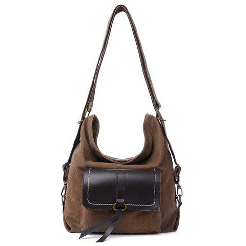 Fashion Casual Splicing and Canvas Design Shoulder Bag For Women - COFFEE  Mobile