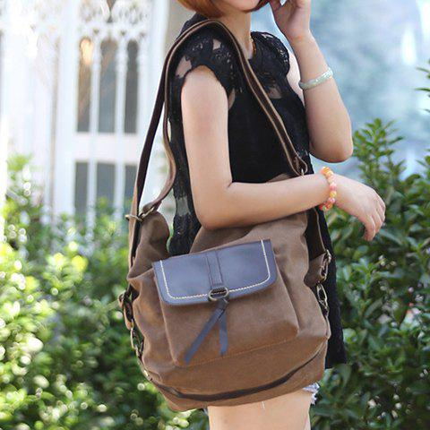 Discount Casual Splicing and Canvas Design Shoulder Bag For Women - COFFEE  Mobile