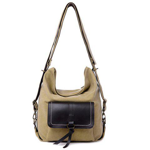 Affordable Casual Splicing and Canvas Design Shoulder Bag For Women - KHAKI  Mobile