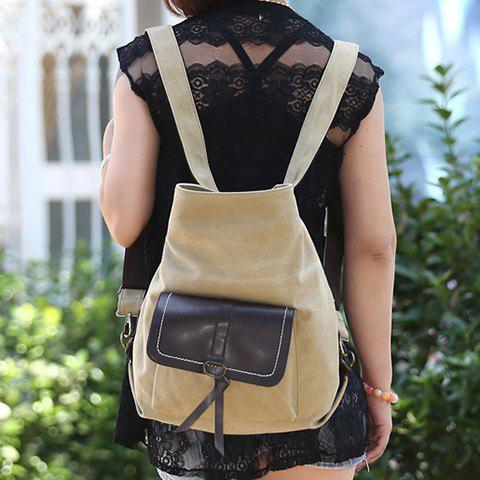 New Casual Splicing and Canvas Design Shoulder Bag For Women - KHAKI  Mobile