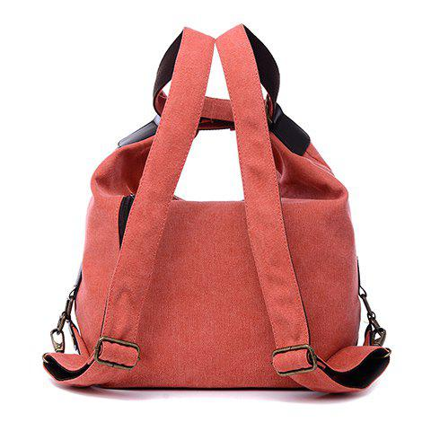 Outfits Casual Splicing and Canvas Design Shoulder Bag For Women - WATERMELON RED  Mobile