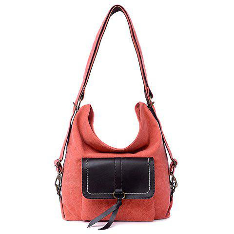 Buy Casual Splicing and Canvas Design Shoulder Bag For Women - WATERMELON RED  Mobile