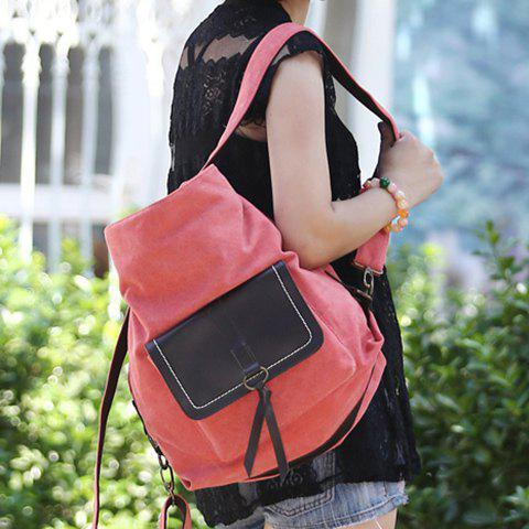 Sale Casual Splicing and Canvas Design Shoulder Bag For Women - WATERMELON RED  Mobile