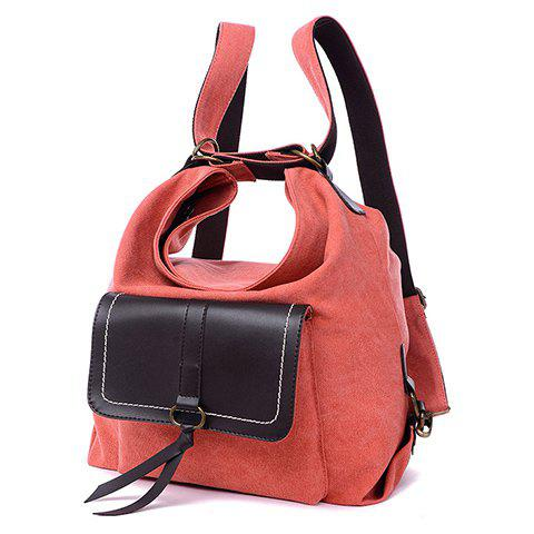 Latest Casual Splicing and Canvas Design Shoulder Bag For Women - WATERMELON RED  Mobile