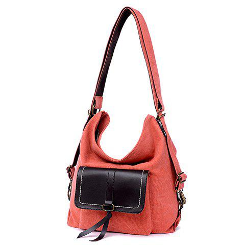 Online Casual Splicing and Canvas Design Shoulder Bag For Women - WATERMELON RED  Mobile