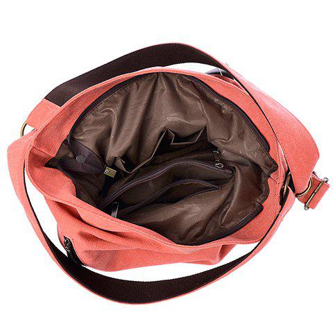 Fancy Casual Splicing and Canvas Design Shoulder Bag For Women - WATERMELON RED  Mobile