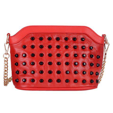 Outfits Sweet Rivets and Solid Color Design Crossbody Bag For Women