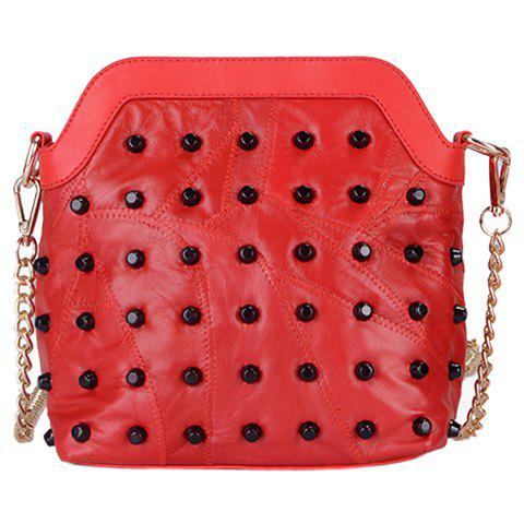 Fancy Fashion Rivets and Zip Design Crossbody Bag For Women
