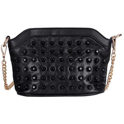 Outfit Leisure Rivets and Black Color Design Crossbody Bag For Women