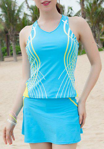 Shops Sports Style V-Neck Color Block Racer Back Two-Piece Swimwear For Women