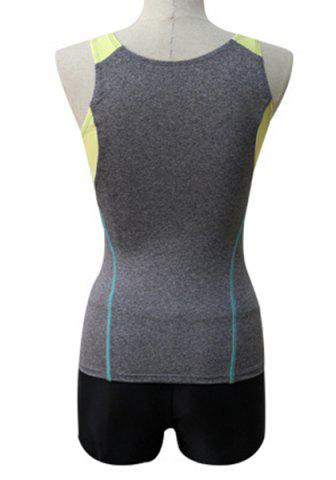 Best Sports Style Round Neck Color Block Zipper Two-Piece Swimsuit For Women - XL GRAY Mobile
