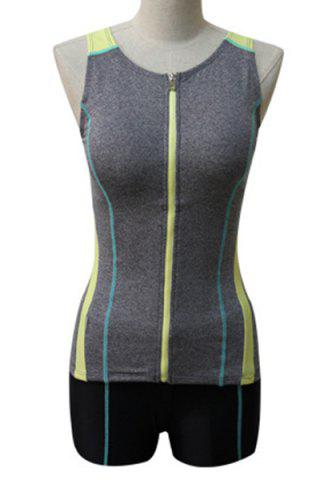 Shop Sports Style Round Neck Color Block Zipper Two-Piece Swimsuit For Women - XL GRAY Mobile
