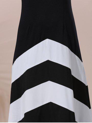 Fancy Halter Sleeveless Color Block Maxi Prom Evening Dress - M WHITE AND BLACK Mobile