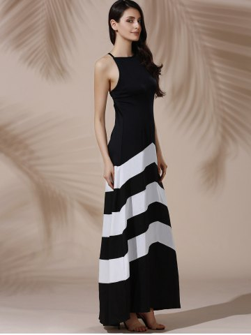 Discount Halter Sleeveless Color Block Maxi Prom Evening Dress - M WHITE AND BLACK Mobile