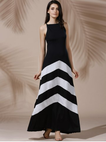 Chic Halter Sleeveless Color Block Maxi Prom Evening Dress - M WHITE AND BLACK Mobile