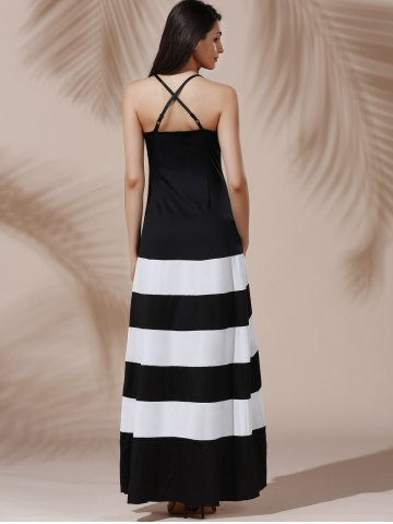 Affordable Halter Sleeveless Color Block Maxi Prom Evening Dress - M WHITE AND BLACK Mobile