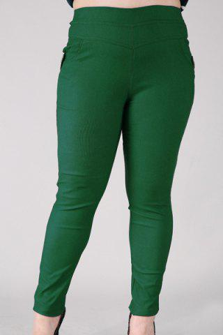 Unique Fashionable High-Waisted Stretchy Plus Size Pants For Women - XL BLACKISH GREEN Mobile