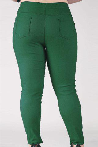 Fashion Fashionable High-Waisted Stretchy Plus Size Pants For Women - XL BLACKISH GREEN Mobile