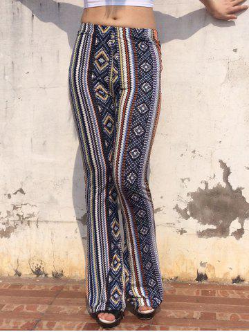 Vintage Elastic Waist Geometric Print Multicolor Skinny Women's Pants - Colormix - One Size(fit Size Xs To M)